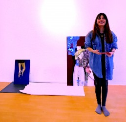 Catalina Sour Vasquez prepares for her CAM exhibit at MBS Gallery