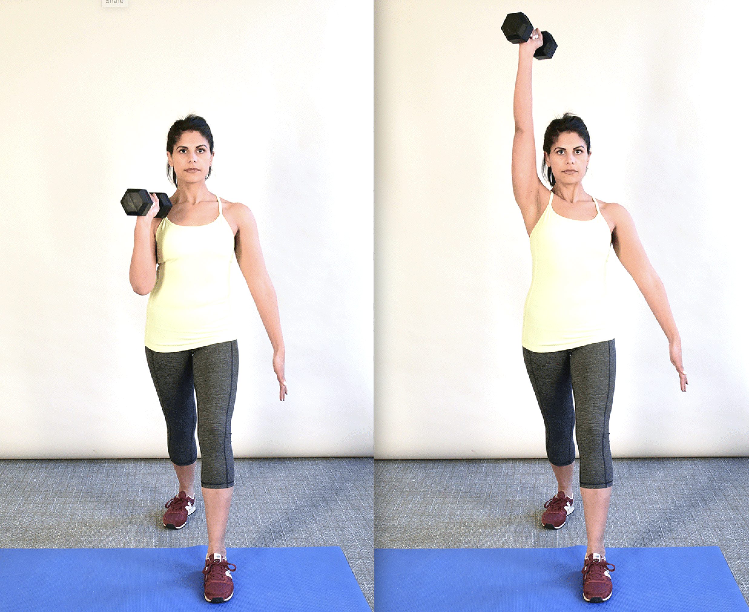 """<img src=""""image.jpg"""" alt=""""woman demonstrating how to perform an overhead press"""">"""
